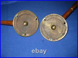 Lovely Antique Solid Brass And Wood Piano / Wall Sconces, Candle holders
