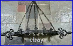 MCM Gothic Black Metal Wall 5 Candle Holder Medieval Castle Candelabra c1960