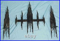 MCM Metal Brutalist Absract Wall Art Candle Holder Sconce Jere Style Black 21