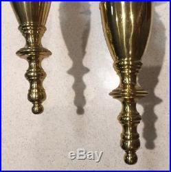 Maitland Smith Pair of Brass Wall Sconce CandleHolders withHurricane Glass RARE
