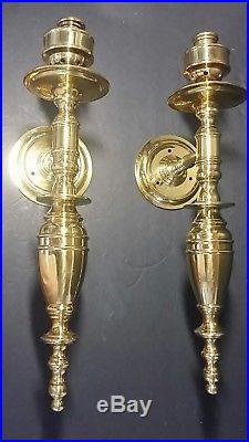 Maitland Smith Pair of Brass Wall Sconce CandleHolders witho Hurricane Glass RARE
