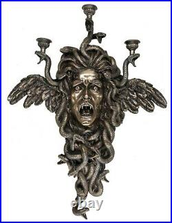 Medusa Ancient Greek Gorgon Wall Candle Holder 61cm/24in Resin Cold Cast Bronze