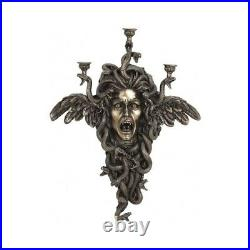 Medusa Gorgon Candle Holder Bronze Sculpture Wall Hanging 61.5cm 24.21