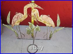 Metal ART SCULPTURE Flamingo Plant Candle Holder Wall Hanging Crane Heron Haiti