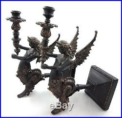 Metal Art Deco Victorian Angel Dragon Wall Sconces Taper Candle Holders Pair