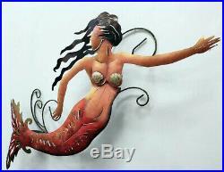 Metal Mermaid Wall Art- Iron Garden Decor-Nautical Candle Holder-Tropical Fish