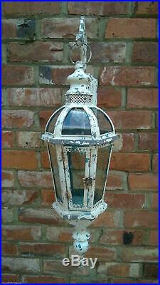 Metal Rustic Shabby Chic Wall mounted Lantern & Bracket Moroccan Style