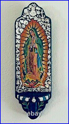 Mexican Milagros Retablo Painted Guadalupe Wood Folk Art Wall Candle Holder