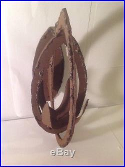 Mid Century Modern Brutalist Hand Welded Iron Wall Candle Holder Sculpture