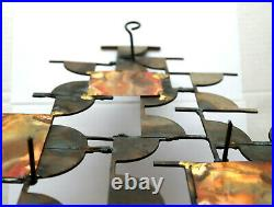 Mid-Century Modern Brutalist Metal Wall Art Sculpture Wall Sconce Candle Holder
