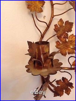 Mid Century Vintage Wall Mounted Gold Candle Holder Sconce Hollywood Regency