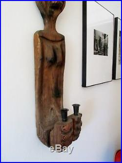 Midcentury WITCO Wilrongo TIKI Modern Wood Wall Sculpture Candle Holder