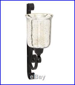 Modern Traditional Sconce Wall Candle Holder Black Metal Silver Mirrored Glass