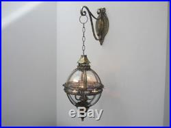Moroccan Wall Hanging Metal Lamp Globe Lantern Bracket Rustic Candl Holder Patio