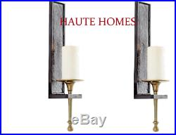 NEW BRASS IRON STUNNING GOLD BLACK Candle Holder Wall Sconce SET/2