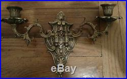 Nice Antique Pair Of Brass Or Bronze Wall Scones Candle Holder Moveable Arms