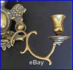 Old Vtg Antique Brass Wall Candle Stick Holder 3 Arm Sconce Metal Eagle Lion