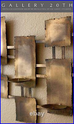 Orig. Brutalist Abstract Metal Wall Art! Candle Holders! MID Century Modern Vtg