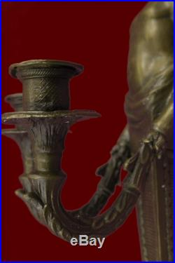 Original Aldo Vitaleh Young Nude Boy Wall Candle Holder Bronze Sculpture Statue