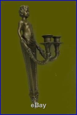 Original Aldo Vitaleh Young Nude Boy Wall Candle Holder Sculpture Statue Bronze