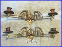 Ornate Art Deco Copper & Brass Art Nouveau Pair Wall Sconces Candle Holders