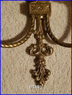 Ornate Brass Wall Sconce with Mirror & Candle Holder 24h Pair Vintage