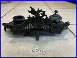 Ornate Vintage Antique Cast Iron Wall Art Hanging Candle Holder Sconce Snuffer