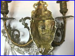 PAIR ANTIQUE ELECTRIFIED BRASS WALL CANDLE SCONCES /HOLDERS with GLASS CRYSTAL