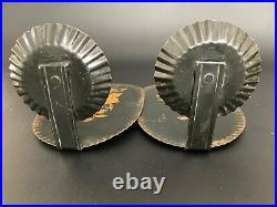 PAIR ANTIQUE Tin Tole Toleware Wall Candle Sconces with REFLECTORS Hand Painted