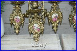 PAIR French bronze limoges medaillon porcelain wall candle holders sconces