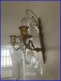 PAIR OF FRENCH ANTIQUE 3 Arm Gilt Bronze CRYSTAL WALL CANDLE Holders / Sconce