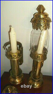 PAIR Vintage BRASS Wall Sconce CANDLE HOLDER Lamp LIGHT Lantern RAILROAD Train
