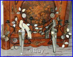 PAIR Wall candle holder murano mirror glass parrot attr. Maison BAGUES 1980