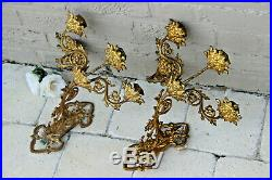 PAIR antique neo gothic Church Wall candlelabras candle holder sconces religious