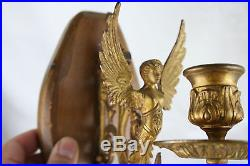 PAIR exclusive empire French brass caryatids wall candle holders wood plaque
