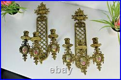 PAIR french Brass porcelain plaque fragonard limoges Wall sconces candle holder