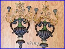 Pair 1960s Vtg Palladio Italian Gilt Wood Metal Wall Candle Sconces Urns Floral