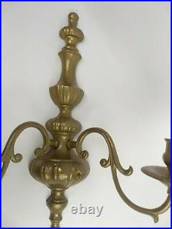 Pair (2) Double Arm Candle Holder Wall Sconces Shabby Distressed French Country