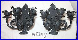 Pair 2 LARGE antique ornate solid wrought iron candle holder wall sconce fixture