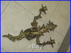 Pair @ 2 Vintage Antique Gilded Iron Bronze Wall Sconces Candle Holders 15