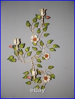 Pair (2) Vintage Italy Tole Floral Candle Holder Rose Buds 22 Tall Wall Sconce