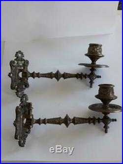 Pair Antique Art Deco Solid Brass Bronze Piano Wall Sconce Candle Holders
