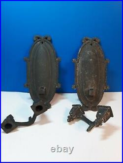 Pair Antique Cast Iron Wall Sconce Candle Holders Gothic 1800s Removable Holders