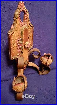 Pair Antique Lincoln No 904 Cast Iron Wall Candle Holder Light Sconces Rose Bud