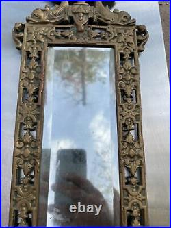 Pair Antique Mirror & Brass Candle Holder Wall Scones Gilt Dolphins 20 X 10