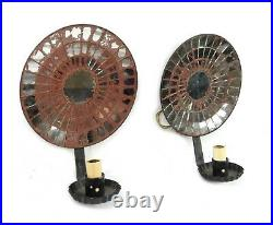 Pair Antique Tin Mirror Mosaic Candle Holder Wall Sconces Electrified