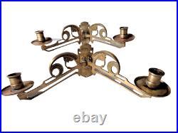 Pair Art Nouveau Piano Candle Sconces, Double Wall Sconces Antique Candleholders