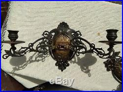 Pair Art Nouveau Style Bronze Finish Twin Metal Sconces / Wall Candle Holders