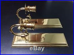 Pair BALDWIN Brass Wall Mount Candle Sconces Made So Can Be Electrified