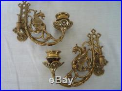 Pair Brass Gothic Decor Griffin Candle Sconces Wall Candle Holders